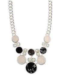 Anne Klein - Metallic Silver-Tone Black And White Stone Frontal Necklace - Lyst