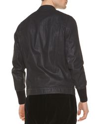 Tomas Maier | Black Coated Denim Zip-Up Jacket | Lyst