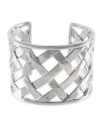 Kenneth Jay Lane | Metallic Polished Silver Basketweave Cuff | Lyst