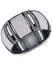 Guess | Metallic Hematite-tone Cut Out Bracelet With Clear Crystal And Stretch Glitter Accents | Lyst