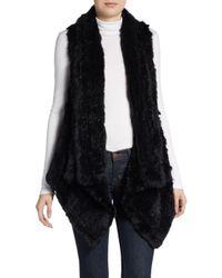 Saks Fifth Avenue | Black Asymmetrical Rabbit Fur Vest | Lyst