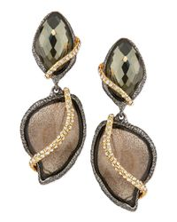 Alexis Bittar - Black 2-Stone Drop Earrings With Pave Vine - Lyst