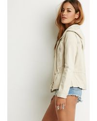 Forever 21 | Natural Hooded Twill Jacket You've Been Added To The Waitlist | Lyst