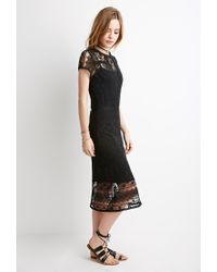 Forever 21 | Black Semi-sheer Ornate Crochet Dress | Lyst