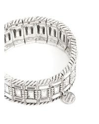 Philippe Audibert | Metallic Engraved Rhinestone Elasticated Bracelet | Lyst