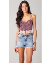 eb01c39a2610e Lyst - Charlotte Ronson Floral Silk Cropped Camisole