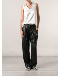 Brunello Cucinelli - Black High Shine Trousers - Lyst