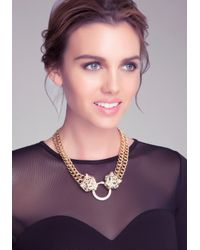 Bebe - Metallic Cougar Statement Necklace - Lyst