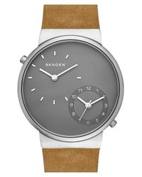 Skagen - Metallic 'ancher' Dual Time Leather Strap Watch for Men - Lyst