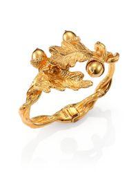 Alexander McQueen | Metallic Leaves & Acorn Cuff Bracelet | Lyst