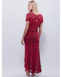 Free People - Red Fairytale Crochet Dress - Lyst