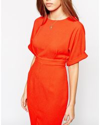 ASOS - Red Petite Wiggle Dress With Split Front - Lyst