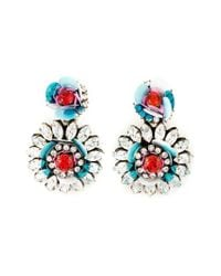 Shourouk - Blue Flower Clip-on Earrings - Lyst