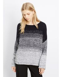 Vince | Black Marled Ombré Textured Pullover Sweater | Lyst