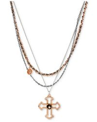 Betsey Johnson - Metallic Tri-Tone Layered Chain Cross Pendant Necklace - Lyst