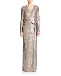 Diane von Furstenberg - Metallic Ariel Sequined Silk Wrap Gown - Lyst