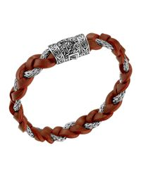 John Hardy | Red Men's Chain-woven Braided Leather Bracelet for Men | Lyst