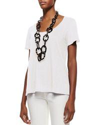 Eileen Fisher | White Short-sleeve Organic Linen Lucky Tee | Lyst