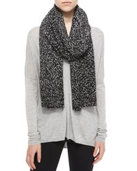 Vince | Black Speckled Cotton-blend Knit Scarf | Lyst