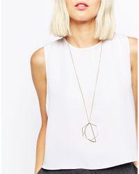 ASOS | Metallic Open Shapes Long Pendant Necklace | Lyst