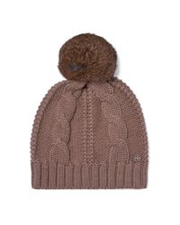 Tory Burch | Brown Large Cable-knit Pom-pom Hat | Lyst