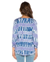 Gypsy 05 - Blue 3/4 Sleeve Henley Blouse - Lyst