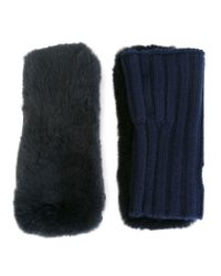 Yves Salomon - Blue Ribbed Fingerless Gloves - Lyst