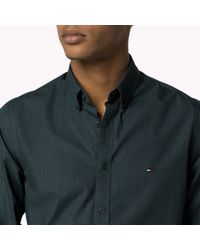 Tommy Hilfiger - Green Cotton Printed Slim Fit Shirt for Men - Lyst