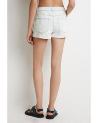 Forever 21   Blue Button Fly Denim Shorts   Lyst