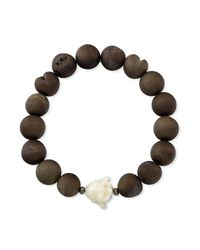 Anne Sisteron | White Happy Buddha Buffalo Bone Stretch Bracelet With Agate | Lyst