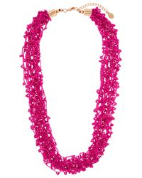 Accessorize Pink Beaded Cord Round Necklace