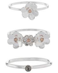 Accessorize - Metallic 3x Flower Ring Set - Lyst