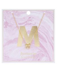 Accessorize - Metallic Initial M Pendant Necklace - Lyst