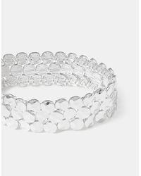 Accessorize - Metallic Textured Disc Stretch Bracelet - Lyst