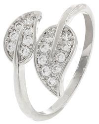 Accessorize - Metallic Platinum Leaf Bling Ring - Lyst