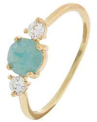 Accessorize - Green Sparkle Stone Ring With Swarovski® Crystals - Lyst