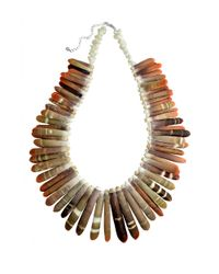 Lord & Taylor | Brown Shell, Mother-Of-Pearl And Sterling Silver Statement Necklace for Men | Lyst