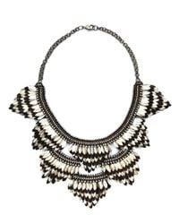 Deepa Gurnani | Metallic Crystal Feather And Leather Statement Necklace | Lyst