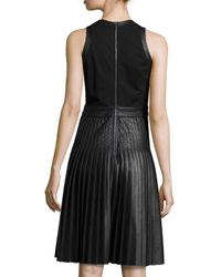 Rebecca Taylor - Black Sleeveless Pleated Faux-leather Dress - Lyst