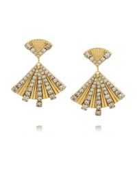 Elizabeth Cole | Metallic Dancing Triangle Gold-plated Swarovski Crystal Earrings | Lyst