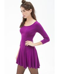 Forever 21 | Purple Knit Skater Dress | Lyst