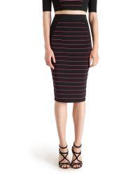 Ted Baker - Black Shelpa Stripe Knitted Midi Skirt - Lyst