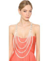 Oscar de la Renta - White Pearl Strand Necklace - Lyst