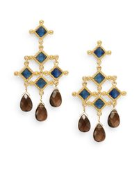 Stephanie Kantis | Metallic Blue Quartz & Smoky Topaz Briolette Venetian Chandelier Earrings | Lyst