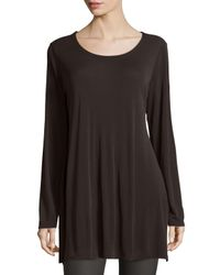 Eileen Fisher | Brown Silk Jersey Long-sleeve Tunic | Lyst
