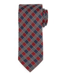 Neiman Marcus - Blue Two-tone Check Silk Tie for Men - Lyst