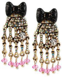 Betsey Johnson - Metallic Goldtone Skeleton Hand Drop Earrings - Lyst