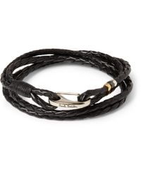 Paul Smith - Black Wovenleather Wrap Bracelet for Men - Lyst