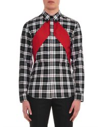 Givenchy | Black Checked And Red-Panel Shirt for Men | Lyst