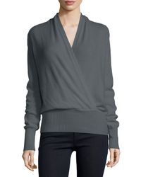 Neiman Marcus - Gray Faux-wrap Cashmere Sweater - Lyst